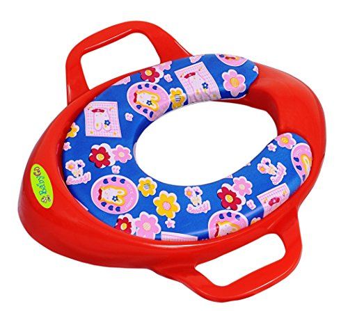 BabyGo Soft Cushion Comfortable Potty Trainer Seat for Potty Training Seat with Support Handles for kids (Red)