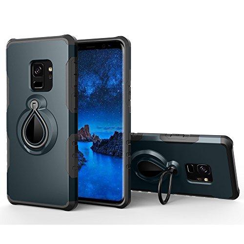 UKDANDANWEI Samsung Galaxy S9+ / S9 Plus Hülle,360 Grad drehbarer Ring Halter, Dual Layer Stoßfest Schlagschutz , Kompatibel mit Magnetic Car Mount für Samsung Galaxy S9+ / S9 Plus - Marineblau - Dual-ring-mount
