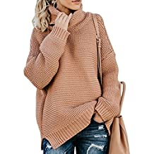 72299fbcea0e ShallGood Femme Hiver Manches Longues Col Haut Pull Sweater Tricotés  Pullover Casual Loose Pull Basique Tricoté