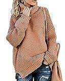 ShallGood Donna Maglione Collo Alto Vintage Elegante Dolcevita Maglieria Lunghe Invernali Sweater Elegante Baggy Jumper Top Casual Giuntura Maglione Pullover