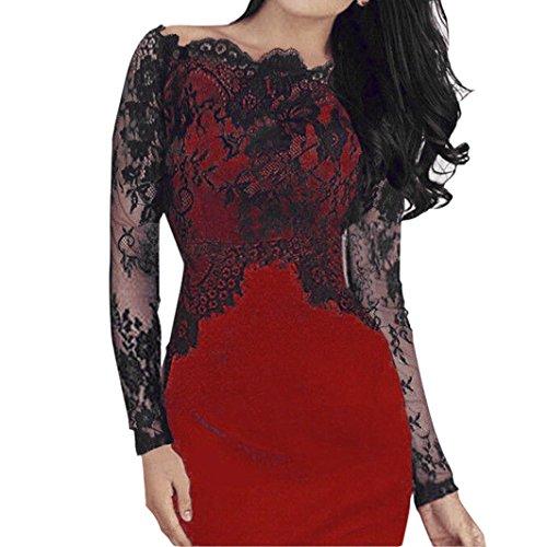 es Design Frauen Sommer Frühling Schulterfrei Elegant Kleid Pencil Kleid Retro O-Ausschnitt MiniKleid Sommer Club Wear Party Büro Kleid (S, Rot) (50er-jahre-halloween-make-up)