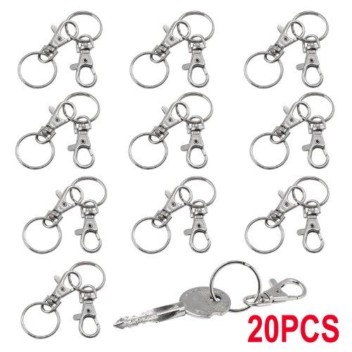 *TRIXES 20 petits mousquetons détachables pivotants avec boucle et anneau de clé Prix