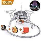 LATTCURE Estufa de Camping Gas 3500W Flexible Quemador de Gas Anti-Viento con Caja de Almacenamiento Súper Ligero para Cocinar al Aire Libre
