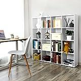 SONGMICS Bücherregal, Raumteiler Regal mit 16 Fächern, weiß, aus Holz, Standregal, 129,5 x 129,5 x 29 cm (B x H x T), LBC44WT