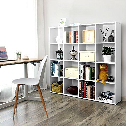 SONGMICS Bücherregal, Raumteiler Regal mit 16 Fächern, weiß, aus Holz, Standregal, 129,5 x 129,5...