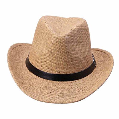 Culater® Uomini Estate Cappello Di Paglia Cappello Da Cowboy (Nero) (Caffè Chiaro)