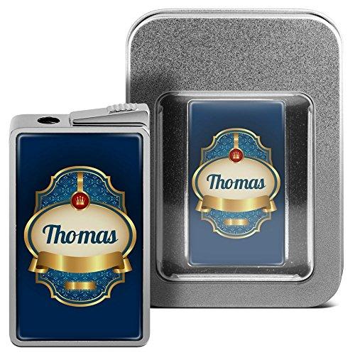 Feuerzeug mit Namen Thomas - personalisiertes Gasfeuerzeug mit Design Wappen 2 - inkl. Metall-Geschenk-Box 1