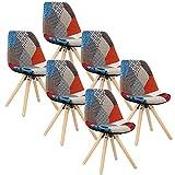 WOLTU 6 x Esszimmerstühle 6er Set Esszimmerstuhl mit Sitzfläche aus Leinen Design Stuhl Küchenstuhl Holz, Neu Design, Patchwork, Mehrfarbig BH52mf-6