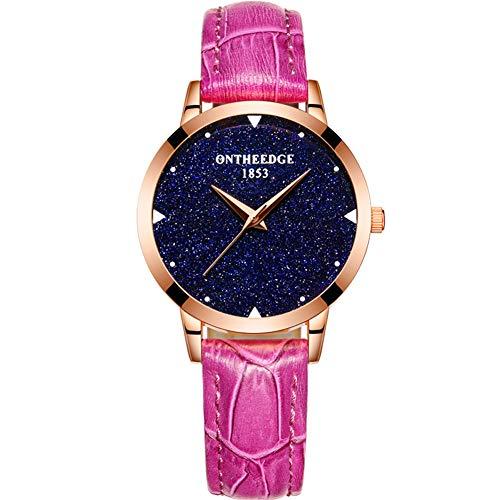 Damen Leder Quarzuhr, Leder wasserdicht Casual Watch, Nicht mechanische Uhr Geschenk, sechs Farben-Purple