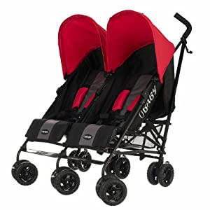 Obaby Apollo Black & Grey Twin Stroller (Red) MYRCLMY ♥TWIN STROLLER: Getting everywhere with two little ones has never been easier, thanks to the Double Strollers; you can glide around town even when you only have one hand free to steer; you can even roll through a standard size doorway. ♥ADJUSTABLE BACKREST & CONNECTABLE SEATS :The backrest can adjust to fit baby's sleep posture to keep comfortable sleeping. Two seats can be connected to lengthen the seat. ♥SAFETY WHEELS & 5-POINT SAFETY BELTS:The springs in front wheels absorb shocks for easy to control direction and safety. The 5-point safety belt is equipped with each seat to ensure security while keeping your baby fit to the safety belt to feel comfortable. 46