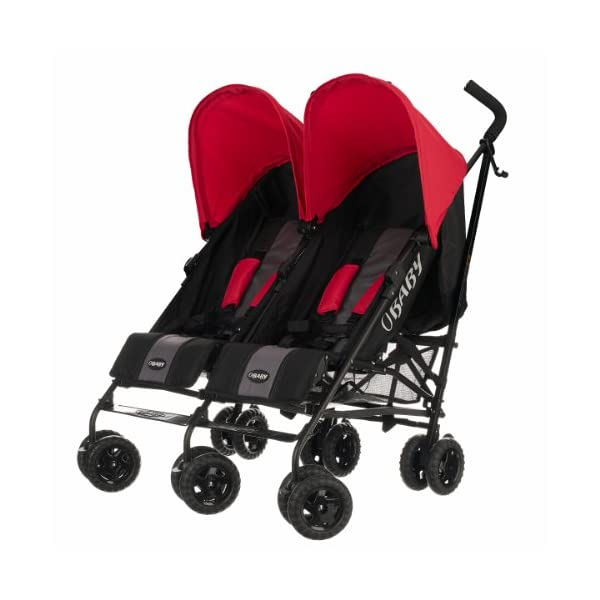 Obaby Apollo Black & Grey Twin Stroller (Red) Obaby Suitable from birth to a maximum weight of 15kg Independently adjustable multi position seat units Independently adjustable hoods 1