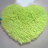QHGstore En forma de corazón antideslizante suave copetudo Alfombra alfombra de la estera estera del piso de la manta de área Verde 30*40cm