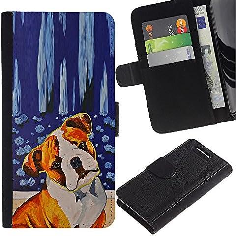 Red Fawn Boxer American Bull Terrier Dog - la tarjeta de Crédito Slots PU Funda de cuero Monedero caso cubierta de piel Sony Xperia Z1 Compact D5503