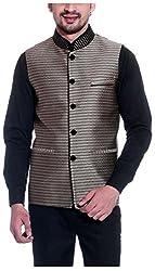 Tag 7 Threads Mens Silk Ethnic Jacket (JJ154, Black, 38)