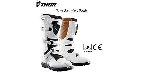 WHITE 2018 UNISEX ADULT MX OFF ROAD BOOTS Thor Blitz CE DirtBike Boots Quad PIT ATV Rider Motorbike Motocross Enduro MTB BMX Sports Medial Guard Protection Race Boots
