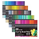 Laconile 100Couleurs aquarelle Brosse Pen Pointe de brosse 2mm et 0,4mm Pointe fine art à double pointe marqueurs pour dessin de coloriage pour adulte Peinture aquarelle Effet Noir