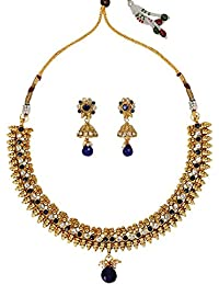 Dancing Girl Bridal Wedding Jewellery Blue Copper Alloy Necklace Sets Jewellery Sets For Women Girls