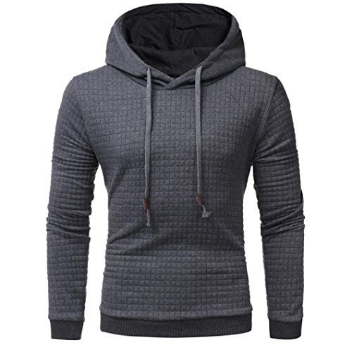 FNKDOR Herren Sweatshirt Langarm Laufshirt Hoodie Shirt Schwarz Kapuzenpullover (50, Dunkelgrau) (N Roses Guns T-shirt Shorts)