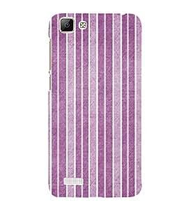 Purple Line Pattern 3D Hard Polycarbonate Designer Back Case Cover for VIVO V1