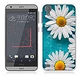 Fubaoda HTC Desire 530 Hülle [Weiße Chrysanthemen] Kratzfeste Plating TPU Case für HTC Desire 530 Case Schutzhülle Silikon Crystal Case Durchsichtig für HTC Desire 530