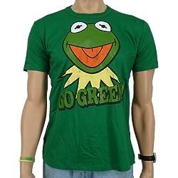 """Logoshirt - Camiseta con diseño de la rana Gustavo y texto en inglés """"Go green"""", color verde Talla:medium"""