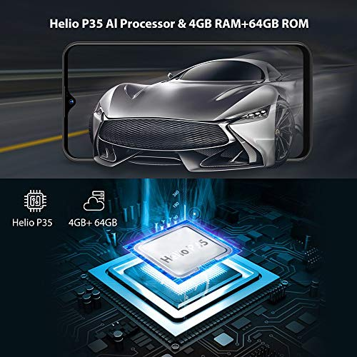 "UMIDIGI Power Mobile Phone SIM Free Android 9 Pie Smart Phone 6.3"" FHD+ 64GB ROM 4GB RAM 5150mAh Battery 18W Fast Charge Dual 4G Smartphone 16MP+5MP Camera"