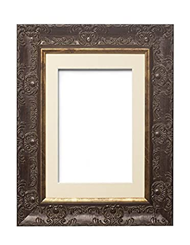 "Muse Walnut with Ivory Mount Wide Ornate MUSE Picture Frame / Photo Frame / Poster Frame With an MDF backing board - With a High Clarity Styrene Shatterproof Perspex Sheet - A4 ""for 9"