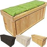 proheim Auflagen-Box L 122 x 41 x 56 cm mit Sitz aus 100% FSC Holz stabile Universal-Box Kissen-Box Sitzbank, Farbe:Natur