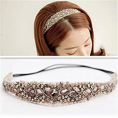Xinjiener Damen Kopfband Bridal Kopfschmuck Haarband Perlen Haar Ornament Wasser Bit mit süßen Haar-Accessoire von xinjiener - Outdoor Shop