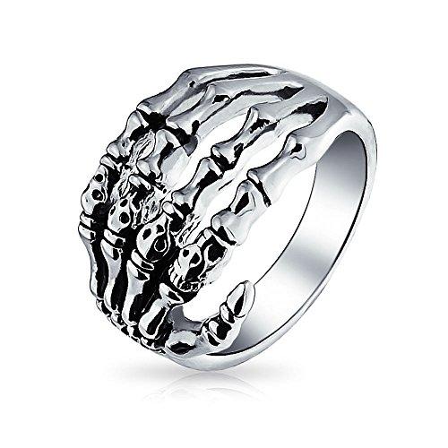 Bling Jewelry góticas de Acero Inoxidable Biker Mens Anillo Cráneo Mano Esqueleto
