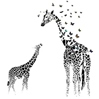 "Giraffe Butterfly Silhouette Wall Stickers DIY Waterproof Removable Wall Decal Home Room Decor, 35.4"" x 23.6"""