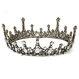 Czemo Prinzessin Diadem Hochzeit Tiara Rosegold Strass Barocke Königin Krone für Hochzeit, Festzüge, Party (#3)