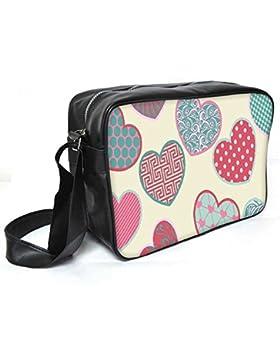 Snoogg Multicolor Heart Leder Unisex Messenger Bag für College Schule täglichen Gebrauch Tasche Material PU