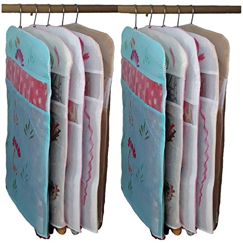 Kuber Industries Transparent Non Woven Hanging Saree Cover - Set Of 10...