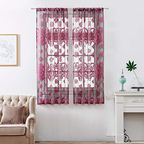 Europäischen Blumendruck Tüll Türfenstervorhang Drapieren Panel Sheer Schal Volants für Schlafzimmer Küche Wohnzimmer Kinderzimmer 1 Panel