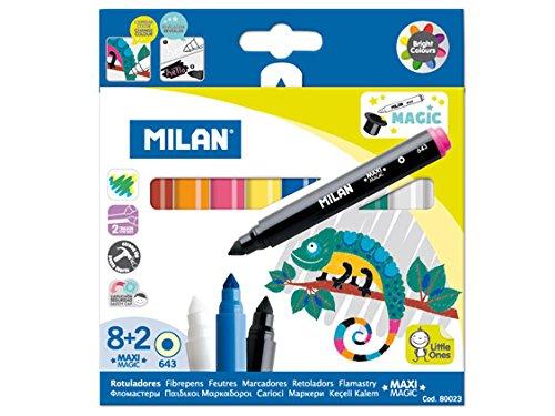 Milan 80023 – Caja de 8 Rotuladores de Colores y 2 Rotuladores Mágicos
