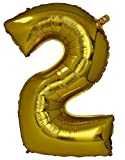 #6: Number 2 Foil Balloon Gold (30inch) , Birthday Party Supplies , Party Foil Balloon - Large