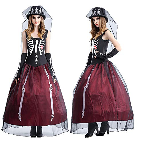 (CWZJ Lady Halloween Ghost Braut Kostüm Taro Weiß Trockene Leiche Braut Cosplay Kleid Karneval Sexy Rock Zombie Evening Gown Ghost Bride Friedhof,XL)