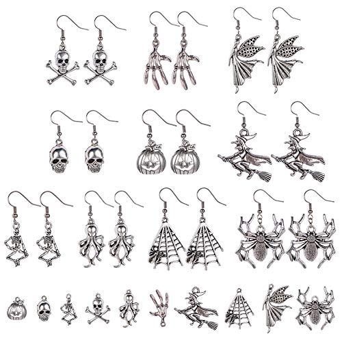 Kostüm Paare Gothic - SUNNYCLUE 1 Box 10 Paare DIY Gothic Halloween Ohrringe Schmuckherstellung Kit Schädel Anhänger Kürbis Charme Spinne Hexe Supplies Crafting Antik Silber