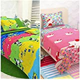 SINGHS MART Kids Cartoon Printed BEDSHEET Combo Of 2 Single BEDSHEETS With 2 Pillow Covers