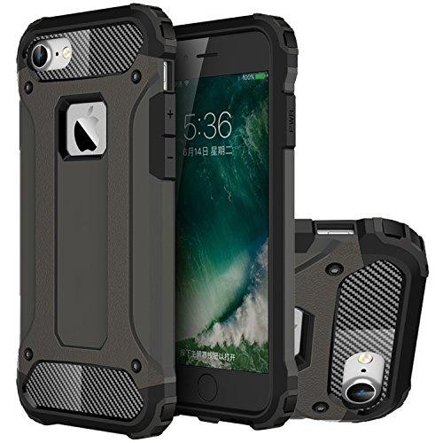 iPhone 7 Hülle, HICASER Hybrid Dual Layer Rugged Heavy Duty Defender Case [Shock Proof] Drop Resistance TPU +PC Handytasche Schutzhülle für Apple iPhone 7 4.7-inch Silber Braun
