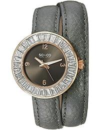 So y Co para mujer de Nueva York diseño de rayas de reloj infantil de cuarzo con esfera analógica gris y gris correa de piel 5070,4