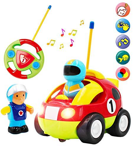 deAO Cartoon-Rennwagen mit Fernbedienung für Kinder mit Licht und Musik - 2 Fahrer inbegriffen