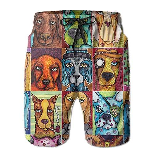 Herren Cool Pop Art Dog Schnelltrocknende Strand-Boardshorts,XL ()