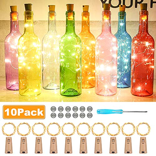 Halloween Flaschen Wein - 【10 Stück】Nasharia 25 LEDs 2.5M Flaschenlicht