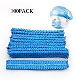 100PCS Disposable Medical Hair Cover,Non Woven Surgical Caps Hair Net,Stretchy Anti Dust Bouffant Medical Cap Shower Hat Nurse Hat -Blue