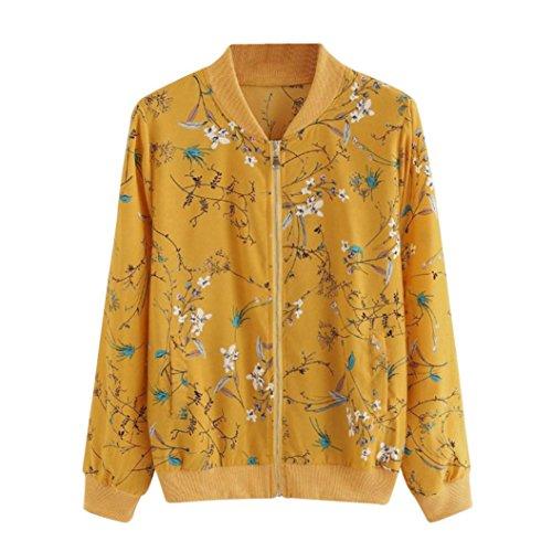 MIRRAY Damen Herbst Blumendruck Reißverschluss Bomber Jacke Outwear Mantel