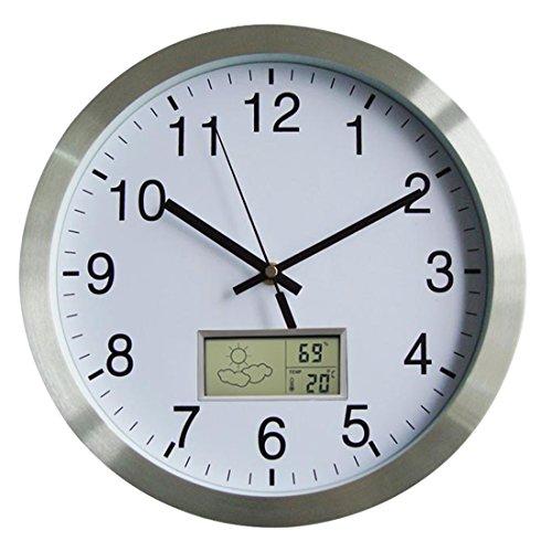 Lommer Funkuhr Wanduhr, 30CM Radio Controlled Modern Bürouhr Funk Metall Wanduhr mit Thermometer und Hygrometer für Zuhause/Büro Dekoration/Geschenk, Uhr