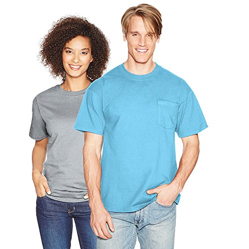 Hanes Men's Beefy-T T-Shirt With Pocket Blue Horizon