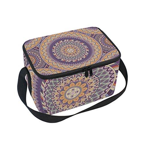 Indian Mandala Isolierte Lunchtasche, Kühltasche, wiederverwendbar, für Outdoor-Reisen, Picknick-Taschen - Isolierte Arbeit Hosen